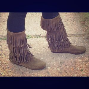 Women's mid calf leather fringe boots-olive green